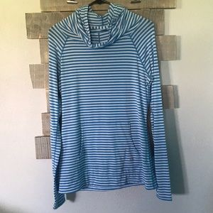 Gap blue and white stripped hooded top